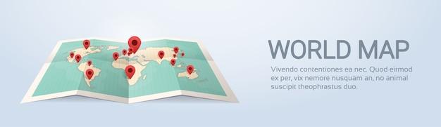 Wereldkaart aarde met pins reizen concept