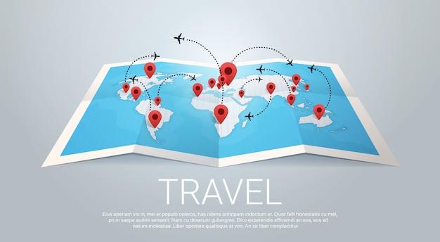 Wereldkaart aarde met spelden reizen concept vectorillustratie