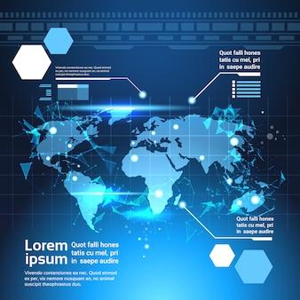Wereldkaart achtergrond, set computer futuristische infographic elementen tech sjabloon grafieken
