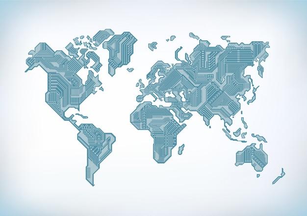 Wereldkaart circuit board