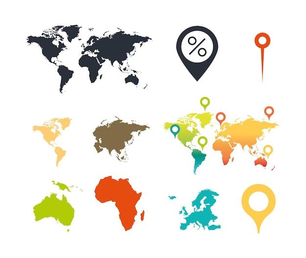 Wereldkaart continenten atlas