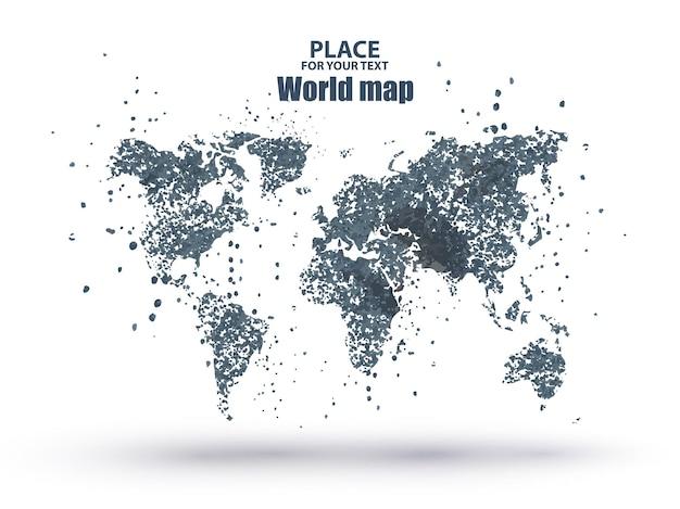 Wereldkaart deeltje divergente samenstelling