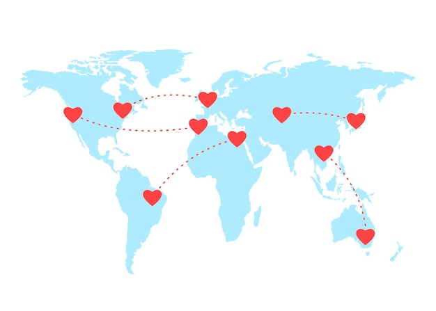 Wereldkaart en gescheiden verliefde koppels liefde op afstand harten verbinden via online