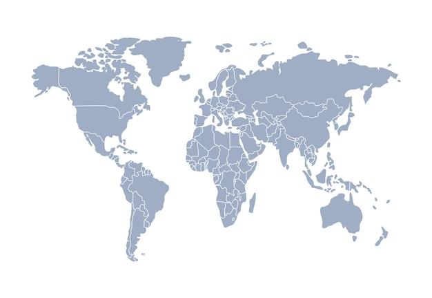 Wereldkaart en landen, continenten.