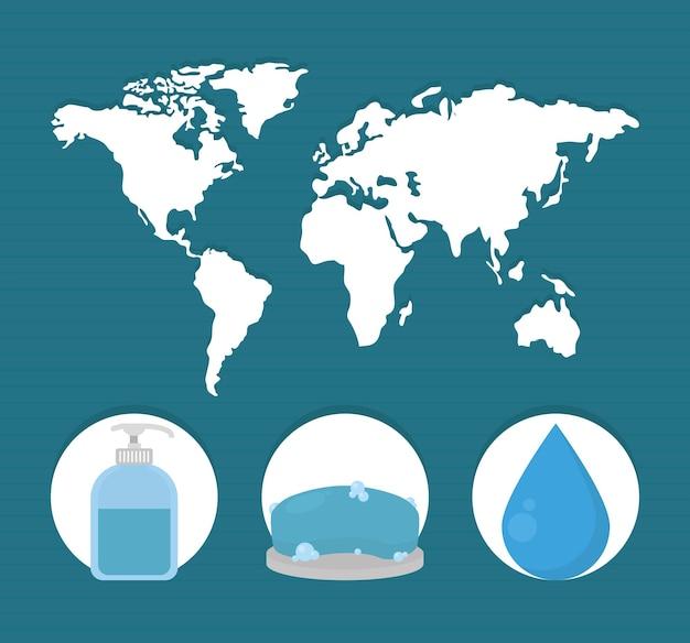 Wereldkaart en pictogrammen voor handen wassen