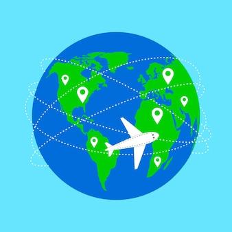 Wereldkaart en vliegtuigvlucht planeet en traject vliegpad vliegtuig vliegt verlaat spoorlijn