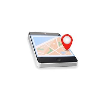 Wereldkaart. gps navigatie. mobiele telefoon technologieën concept.