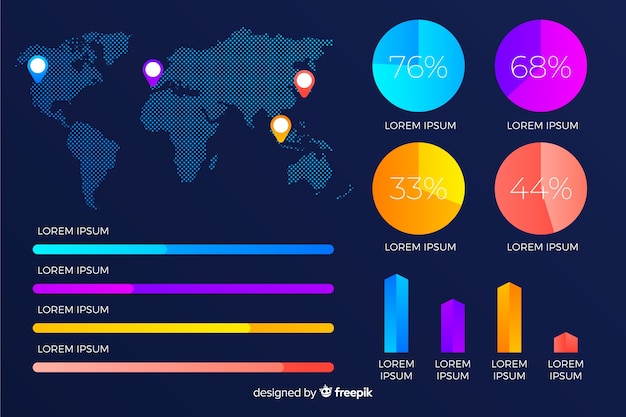 Wereldkaart gradiënt infographic met percentages