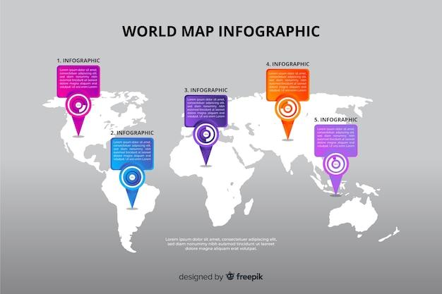 Wereldkaart grafiek bestemming sjabloon