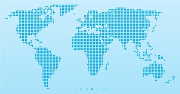 Wereldkaart halftoon