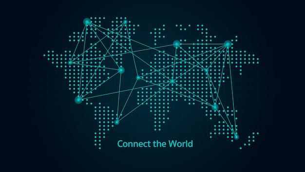 Wereldkaart in abstracte stijl met verbonden locatie door vele lijnen en punten. illustratie over wereldwijde communicatie.