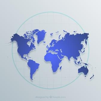 Wereldkaart in blauwe tinten