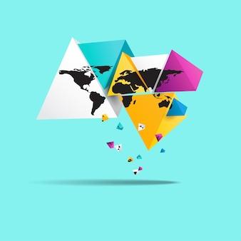 Wereldkaart in driehoekige vorm.