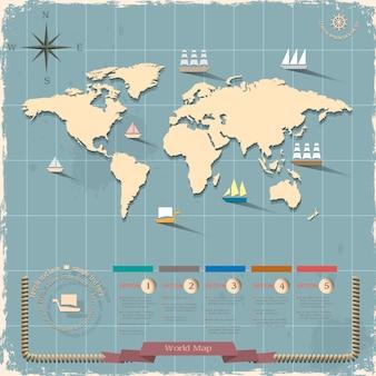 Wereldkaart in retro stijl
