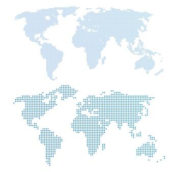 Wereldkaart in stippen, blauwe kleur.