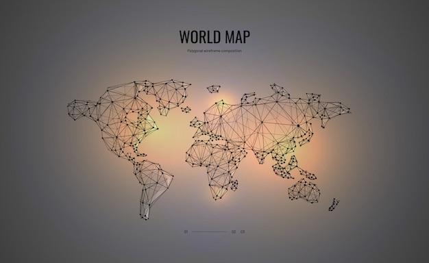 Wereldkaart in veelhoekige wireframe-stijl