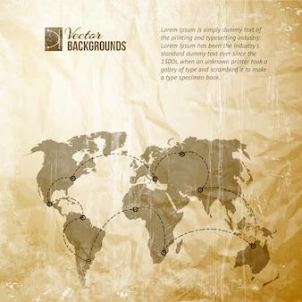 Wereldkaart in vintage stijl.