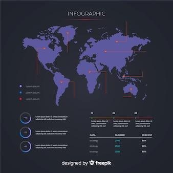 Wereldkaart infographic sjabloon concept