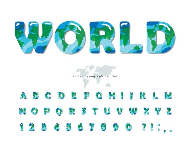 Wereldkaart lettertype voor milieu, ecologie design.