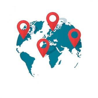 Wereldkaart locatie pinnen vector of wereldwijde gps transport geo aanwijzer platte cartoon