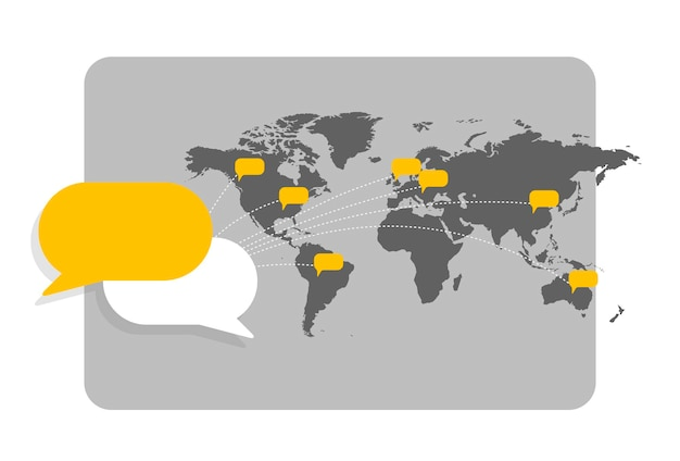 Wereldkaart met berichtbellen die de onderlinge verbinding en wereldwijde communicatie tonen.
