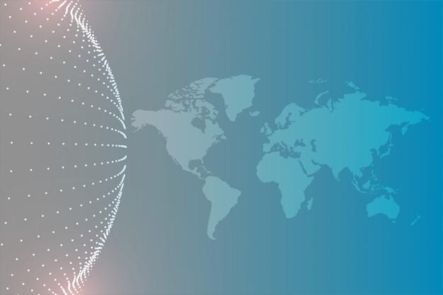 Wereldkaart met cirkelvormige deeltjesachtergrond