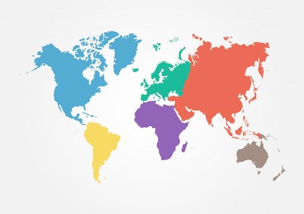 Wereldkaart met continent in verschillende kleuren