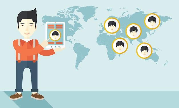 Wereldkaart met dezelfde gezichten elke bestemming.