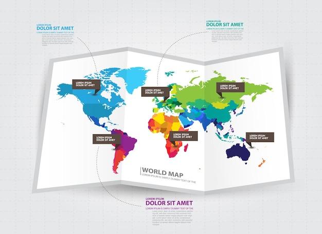 Wereldkaart met geselecteerde landen infographic ontwerpsjabloon