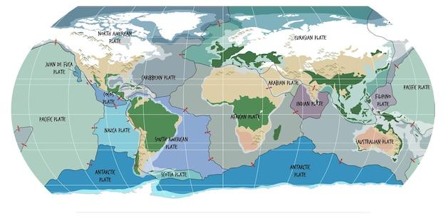 Wereldkaart met grenzen van tektonische platen
