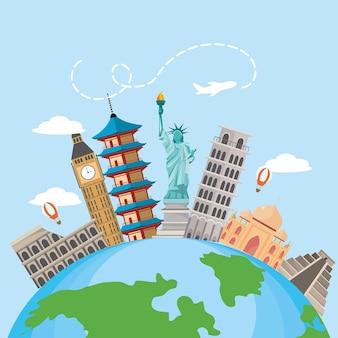 Wereldkaart met internationale plaatsbestemming