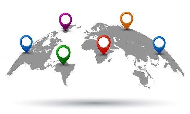 Wereldkaart met locatie -
