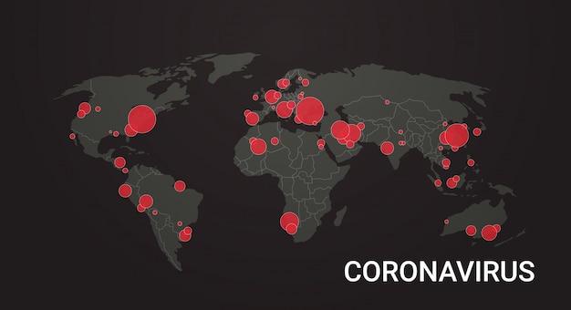 Wereldkaart met locatiepinnen uitbraak van coronavirus bevestigde gevallen melden wereldwijde wereldwijde infectie-epidemie mers-cov-griep verspreidt drijvende grieplanden met covid-19 horizontaal Premium Vector