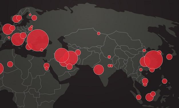 Wereldkaart met locatiepinnen uitbraak van coronavirus bevestigde gevallen melden wereldwijde wereldwijde infectie-epidemie mers-cov-griep verspreidt drijvende grieplanden met covid-19 horizontaal