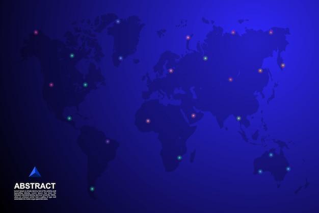 Wereldkaart met pin op locatie achtergrond