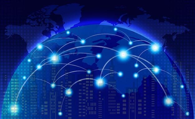Wereldkaart met sociale netwerklijnen