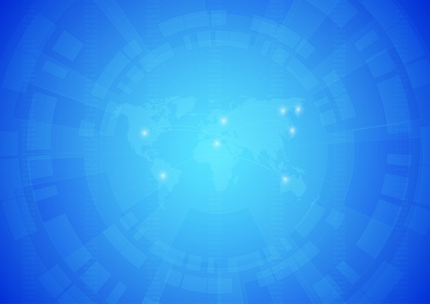 Wereldkaart met technologische achtergrond.