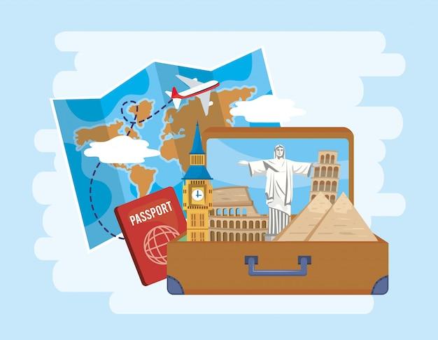 Wereldkaart met vliegtuig en koffer met paspoort