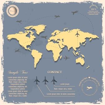 Wereldkaart met vliegtuigen voor in vintage stijl