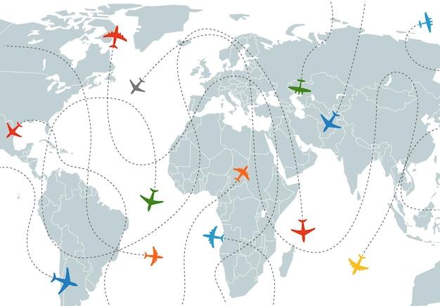 Wereldkaart met vliegtuigpaden