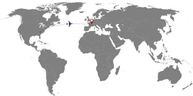 Wereldkaart met vliegtuigspoor. vector illustratie