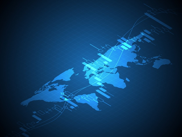 Wereldkaart met voorraad en forex de grafiek van de kaarsstok grafiek vectorillustratie als achtergrond