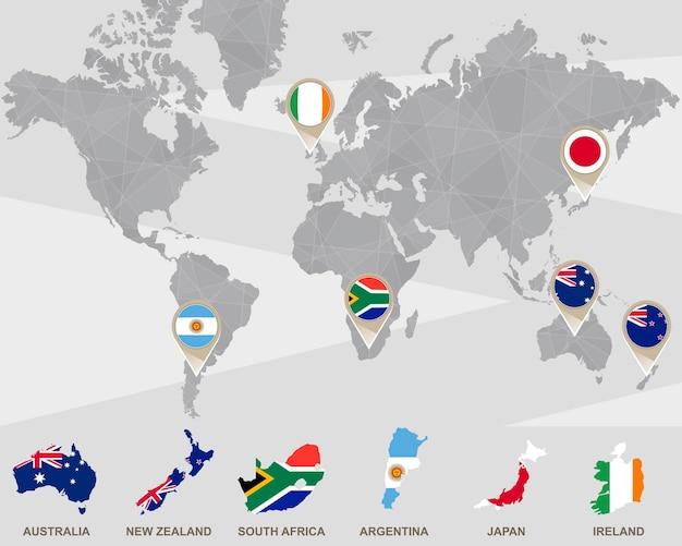 Wereldkaart met wijzers van australië, nieuw-zeeland, zuid-afrika, argentinië, japan, ierland. vectorillustratie.