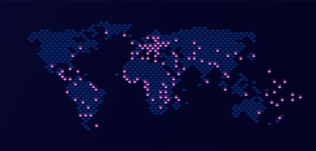 Wereldkaart op donkere achtergrond met puntlichten
