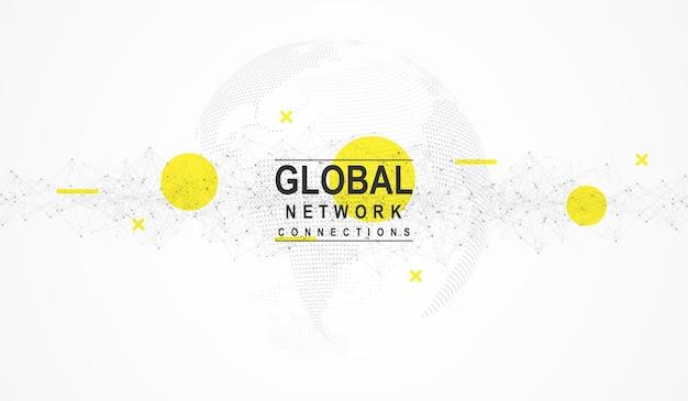 Wereldkaart punt en lijn samenstelling concept