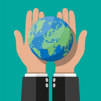 Wereldkaart silhouet. globe in de hand