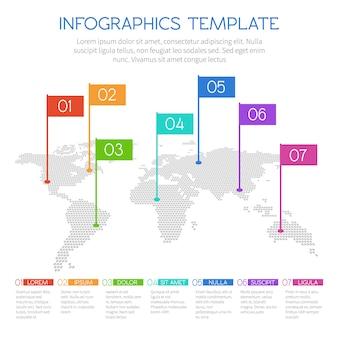 Wereldkaart van ronde stippen met grafieken en diagrammen