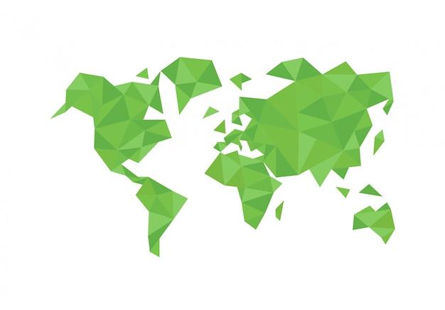 Wereldkaart van veelhoekige driehoek