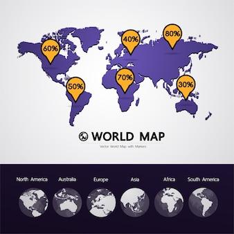 Wereldkaart vectorillustratie