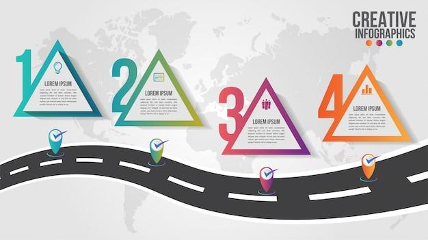 Wereldkaart zakelijke infographics 5 stap opties illustratie en ontwerpsjabloon aanwijzer